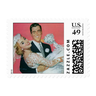 Vintage Wedding, Groom Carrying Bride, Newlyweds Stamps
