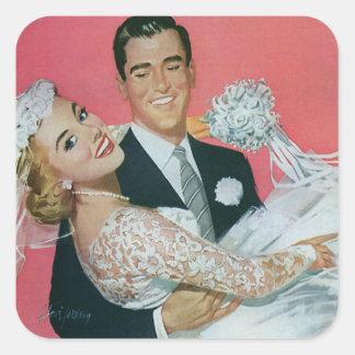 Vintage Wedding Groom Carrying Bride Newlyweds Stickers