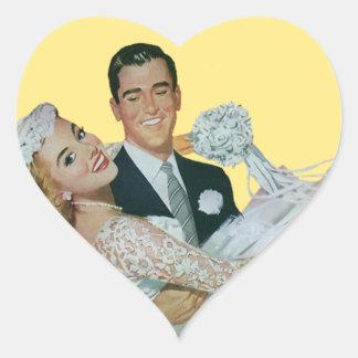 Vintage Wedding Groom Carrying Bride Newlyweds Heart Stickers