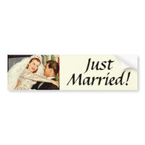 Vintage Wedding, Happy Bride and Groom Newlyweds Bumper Sticker
