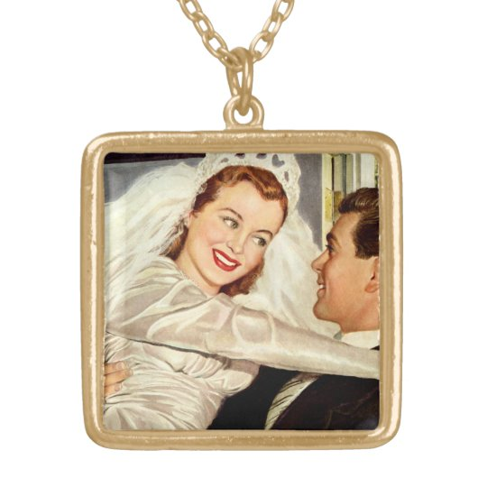 Vintage Wedding, Happy Bride and Groom Newlyweds Gold Plated Necklace