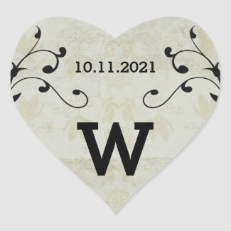 Vintage Wedding Heart Stickers