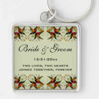 Vintage Wedding, Hummingbirds and Flowers Silver-Colored Square Keychain