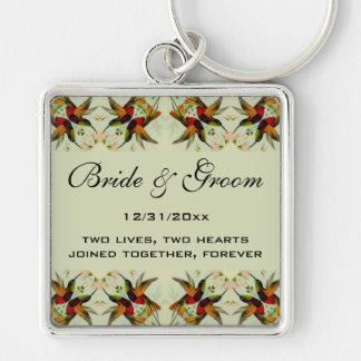 Vintage Wedding, Hummingbirds and Flowers Keychain