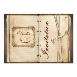 Rustic Old Book Vintage Wedding   Invitations