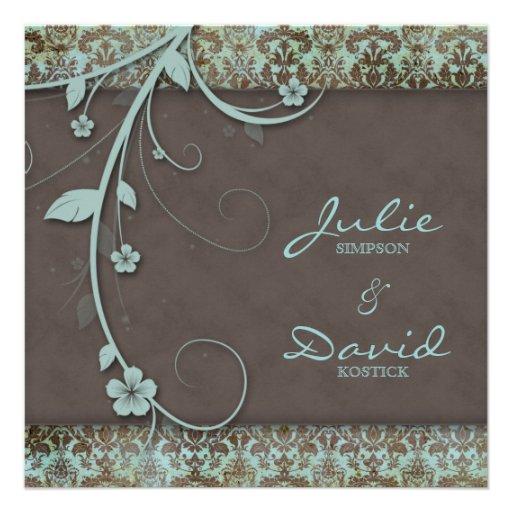 Vintage Wedding Invitation Floral Blue Brown