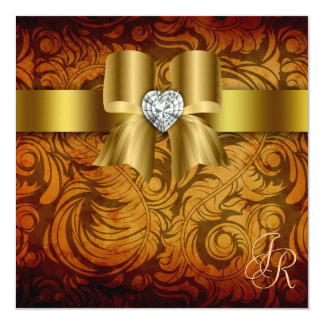 Vintage Wedding Invitation Heart Bow Autumn