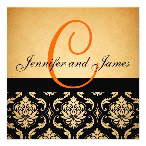Vintage Wedding Invitation Orange Monogram Damask