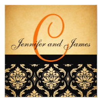 Vintage Wedding Invitation Orange Monogram Damask