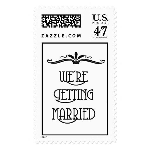 Vintage Wedding Invitation Postage Stamp