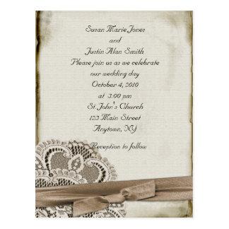 Vintage Wedding Invitation Postcard