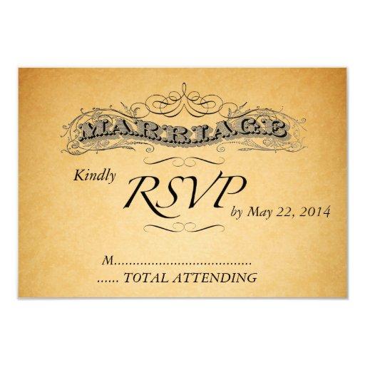 Vintage Wedding Invitation RSVP Black Damask