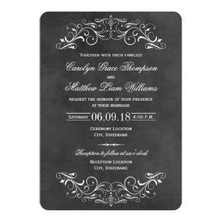 Vintage Wedding Invitations | Chalkboard Flourish Custom Announcements