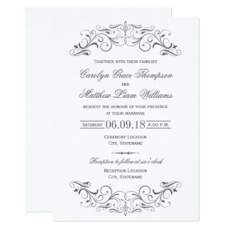 vintage wedding invitations elegant flourish - Fancy Wedding Invitations