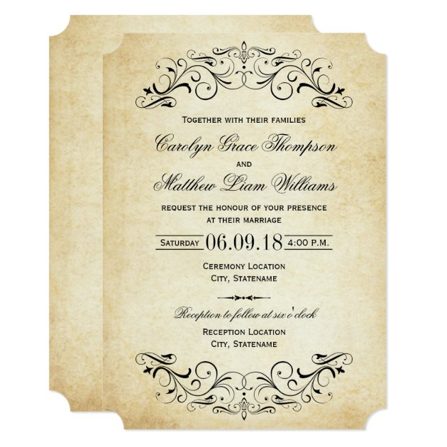 Vintage Wedding Invitations | Elegant Flourish | Zazzle