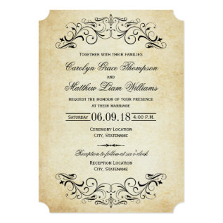 Vintage Wedding Invitations | Elegant Flourish at Zazzle