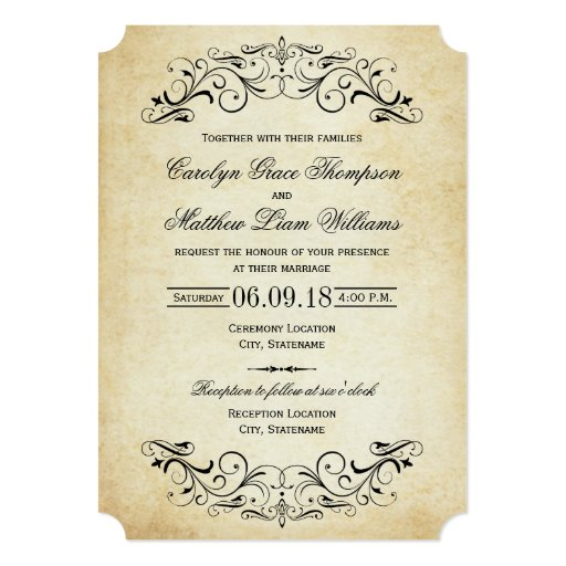 Vintage Wedding Invitations Elegant Flourish Zazzle L3aLHTlM