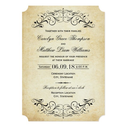 Vintage wedding invitations elegant flourish zazzlecom for Free wedding invitation samples zazzle