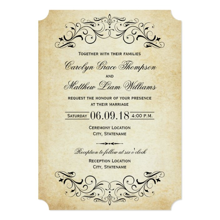 Vintage Wedding Invitations Elegant Flourish Zazzle Com
