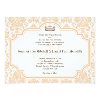 Vintage Wedding Invitations Peach Damask