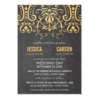 VINTAGE WEDDING INVITE gold foil filigree damask