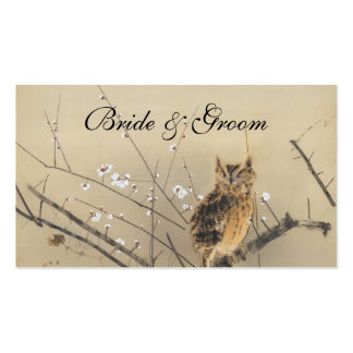 Vintage Wedding, Japanese Owl and Plum Tree Business Card Template