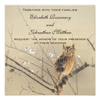 Vintage Wedding, Japanese Owl and Plum Tree Card