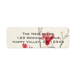 Vintage Wedding, Japanese Pink Magnolia Tree Label