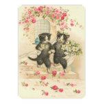 Vintage Wedding Kittens 5x7 Paper Invitation Card