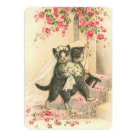 Vintage Wedding Kittens Invitation