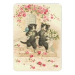 Vintage Wedding Kittens Personalized Announcement