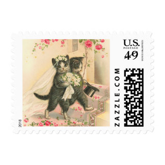 Vintage Wedding Kittens Postage