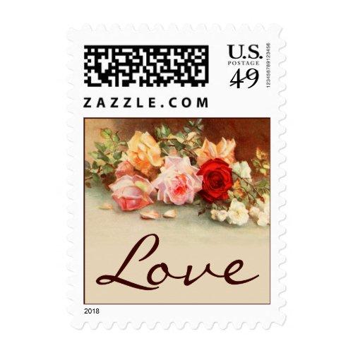 Vintage Wedding Love, Antique Rose Flowers Art Postage