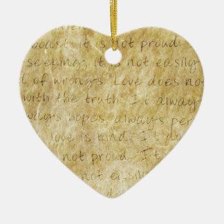 Vintage  Wedding Love is Patient Ceramic Ornament