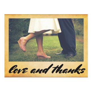 Vintage Wedding Love & Thanks Typography Photo Postcard