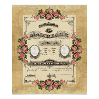 Vintage Wedding Marriage Certificate Modern Design Posters