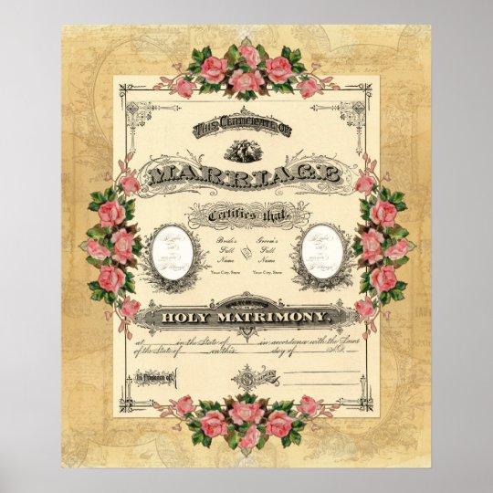 vintage wedding marriage certificate modern design poster zazzle com
