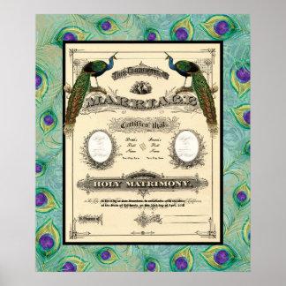 Vintage Wedding Marriage Certificate Modern Design Poster