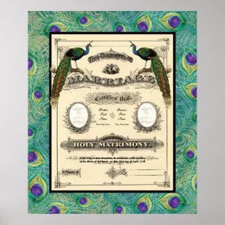 Vintage Wedding Marriage Certificate Modern Design Print