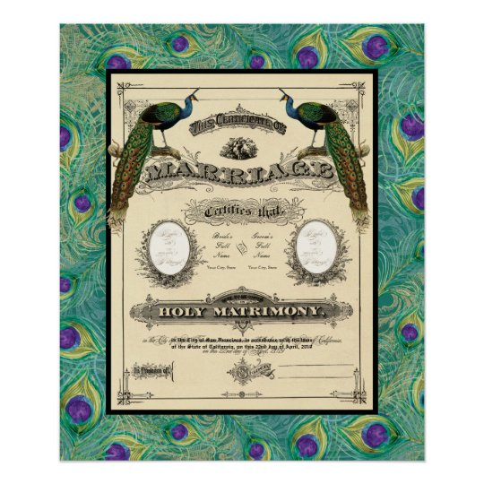 Vintage Wedding Marriage Certificate Modern Design Poster