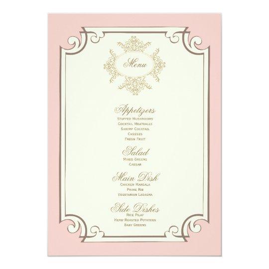 {vintage} wedding menu card
