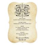 "Vintage Wedding Menu Card | Elegant Flourish 5"" X 7"" Invitation Card"