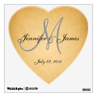 VINTAGE Wedding Monogram Name Heart Wall Decal