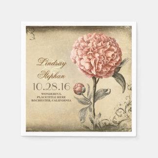 vintage wedding napkins with pink peony blossom