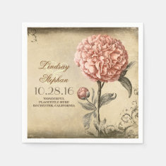 vintage wedding napkins with pink peony blossom disposable napkins