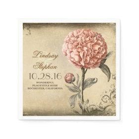 vintage wedding napkins with pink peony blossom disposable napkins