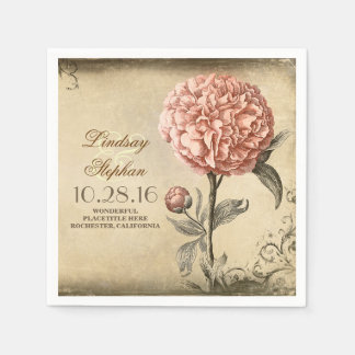 vintage wedding napkins with pink peony blossom standard cocktail napkin