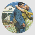 Vintage Wedding, Newlyweds Buy First House Classic Round Sticker