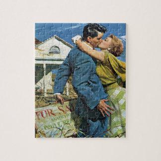 Vintage Wedding, Newlyweds Buy First House Jigsaw Puzzle