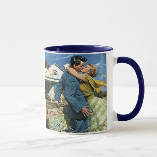 Vintage Wedding, Newlyweds Buy First House Mug